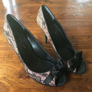 Nina Lace Overlay Peep Toe Stiletto Wedding Shoe